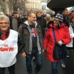 A Szolidaritás Mozgalom a rabszolgatörvény elleni tüntetésen